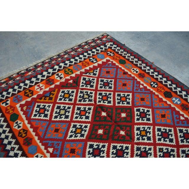 Persian Handwoven Wool Kilim Rug - 5′2″ × 9′9″ For Sale - Image 5 of 6