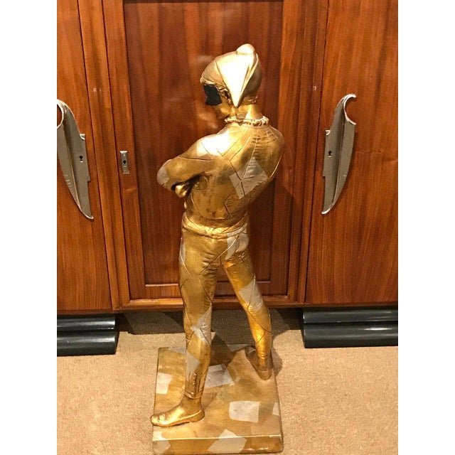 Hollywood Regency Standing Gold and Silvered Harlequin Sculpture For Sale - Image 10 of 12