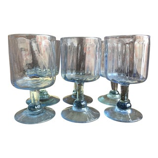 1970s Hand Blown Topaz Blue Wine Goblets - Set of 6 For Sale