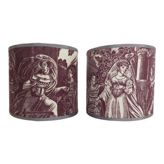 Antique Toile Sconce Shades - a Pair For Sale