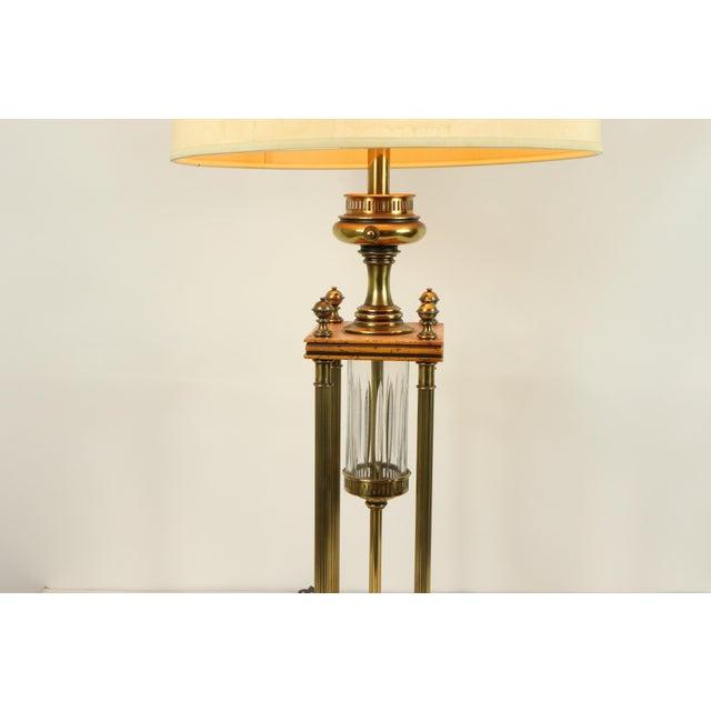 Mid-Century Modern 1960s Mid Century Modern Brass Wood Glass Stiffel Regency Table Lamp Light For Sale - Image 3 of 12