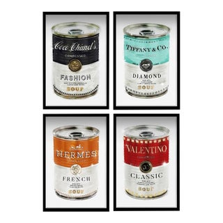 Oliver Gal 'Luxe Fashion Soup Cans- Set of 4' Framed Art For Sale