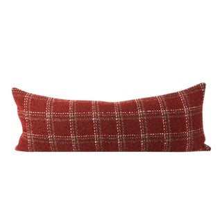 "Red Plaid Texture Bed Throw Pillow 13"" x 34"""