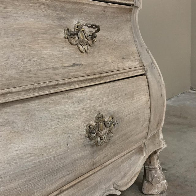 Gray 18th Century Dutch Tambour Stripped Oak Secretary ~ Bookcase For Sale - Image 8 of 13
