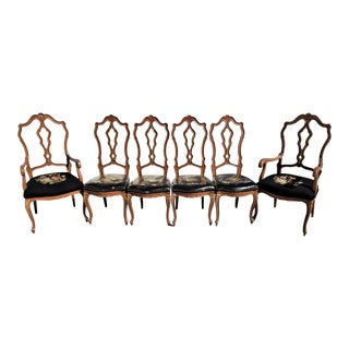 Lovely Set of Vintage Country French Provincial Tapestry Seat Dining Chairs - Set of 6 For Sale