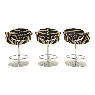 Vintage Pierre Paulin Tulip Bar Stool Chairs Restored in Zebra Hide - Set of 3 For Sale