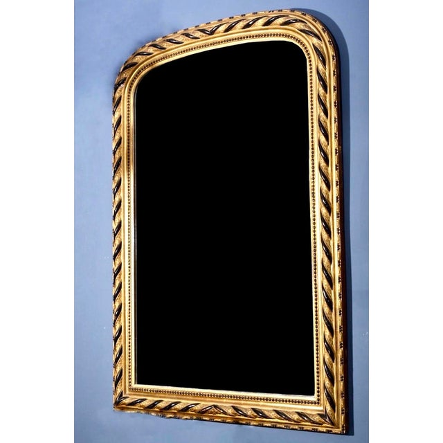 French 19th Century Louis Philippe Gilt and Ebonized Wall Mirror For Sale - Image 3 of 4