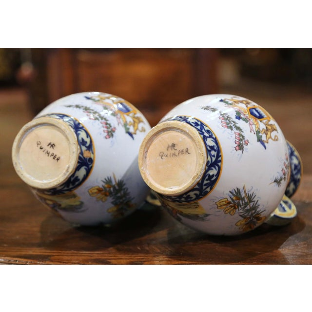 19th Century French Hand Painted Faience Vases Signed Hr Quimper - a Pair For Sale - Image 10 of 11