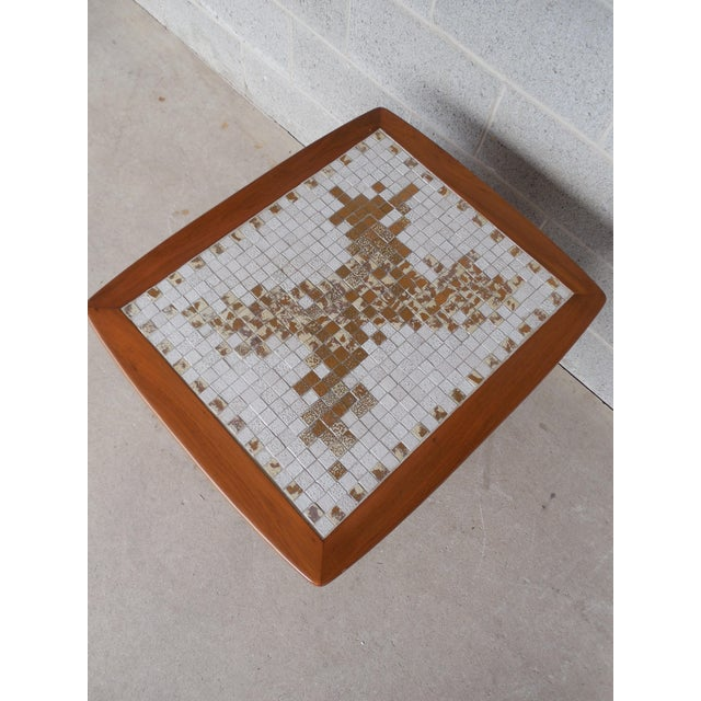 Wood Mid Century Modern Mosaic Tile Top End Table For Sale - Image 7 of 8