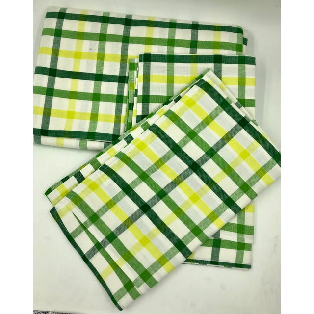 """Contemporary Top Sheet Flat 100% Cotton Handloom Hand Woven White Green Yellow Citrus Madras Checks 80 X 60"""" Inch Pillow Covers New For Sale - Image 3 of 8"""