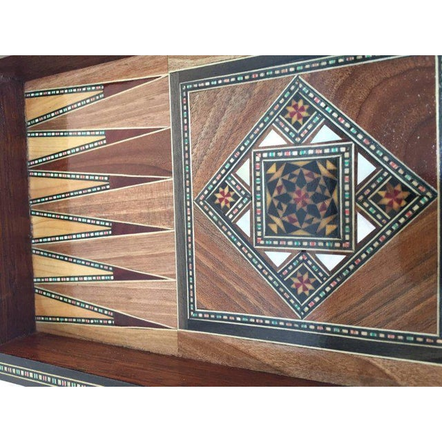 Syrian inlaid marquetry mosaic backgammon and chess game box. Amazing craftsmanship the intricate marquetry fruitwood in...