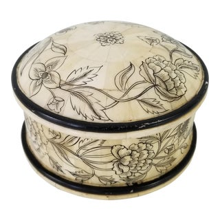 Vintage Inlaid Bone and Hand Painted Decorative Box For Sale