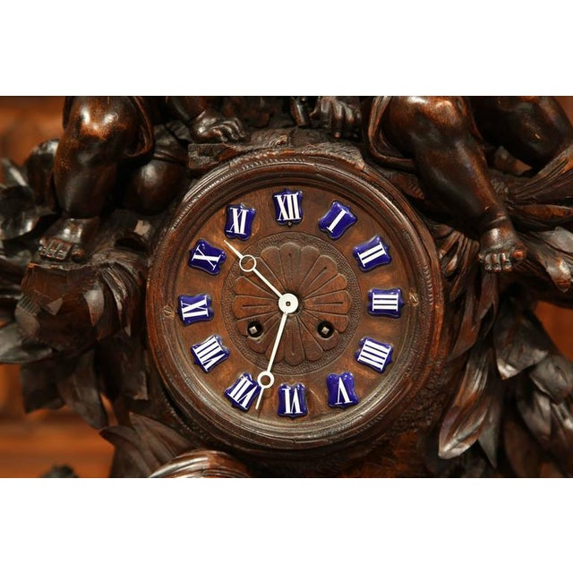 Brass 19th Century Swiss Carved Walnut Black Forest Mantel Clock For Sale - Image 7 of 10