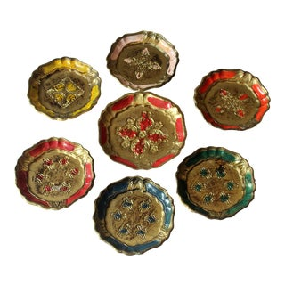 Vintage Italian Florentine Style Wooden Coaster - Set of 7 For Sale