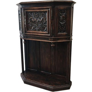 French Antique Gothic Oak Vestry Cabinet Server For Sale