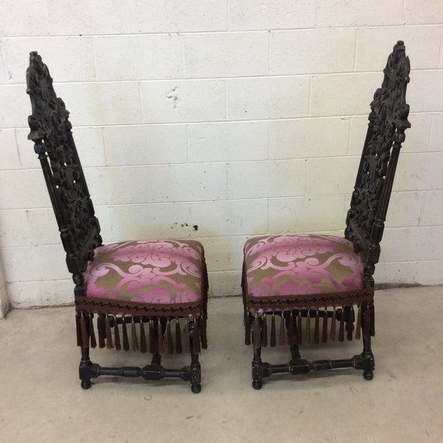 Carved Mahogany Jacobean Style High Back Chairs-A Pair For Sale In Richmond - Image 6 of 13