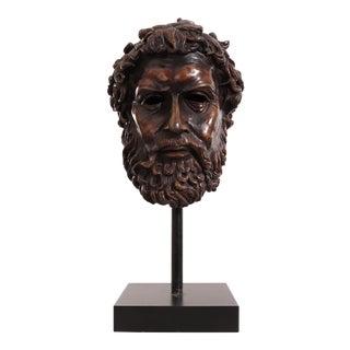Italian Neoclassic Style Bronze Poseidon Bust For Sale