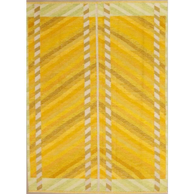 "Mid-Century Modern Modern Swedish Flatweave Yellow Rug - 6'4 X 8'8"" For Sale - Image 3 of 3"