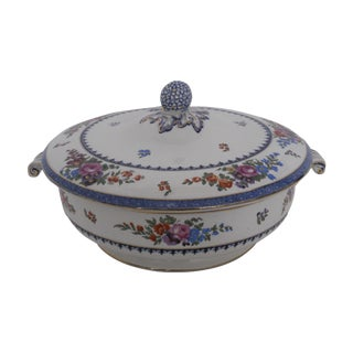 English Traditional Hand-Painted Vegetable Tureen For Sale