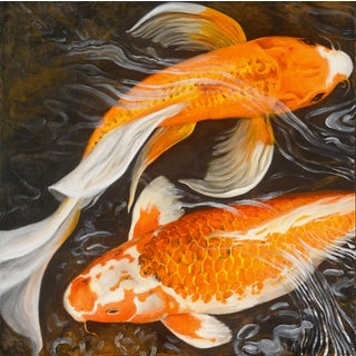"Laurie Flaherty ""Murmur"" Contemporary Koi Fish Realist Oil Painting For Sale"