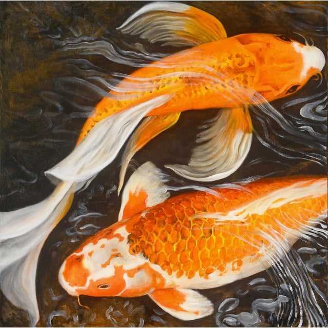 """Laurie Flaherty """"Murmur"""" Contemporary Koi Fish Realist Oil Painting For Sale"""