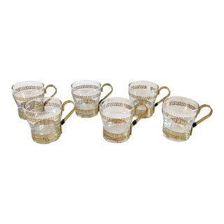 Hollywood Regency Greek Key Libby Glass Co. Coffee Cups - Set of 6 For Sale