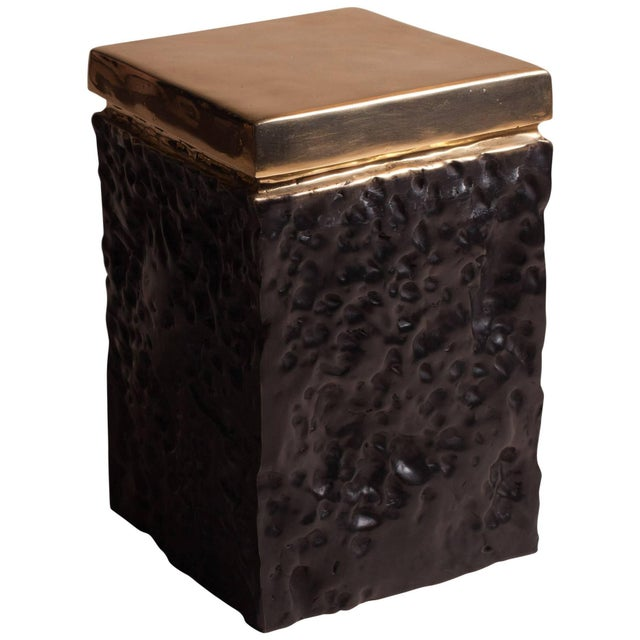 Gold Black and Bronze Hand Casted Stool For Sale - Image 8 of 8