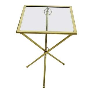 Mid Century Modern Brass & Glass Folding Side End Table Italian Lacca Era 1950s For Sale