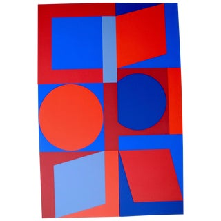 Mid-Century Optical Screen Print by Victor Vasarely, 1960s For Sale