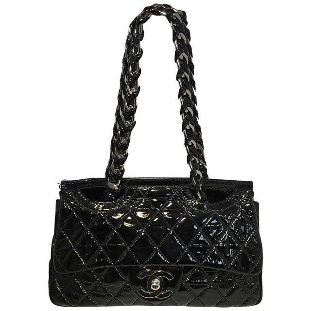Chanel Black Patent Leather 2 Way Classic Flap Shoulder Bag For Sale - Image 13 of 13