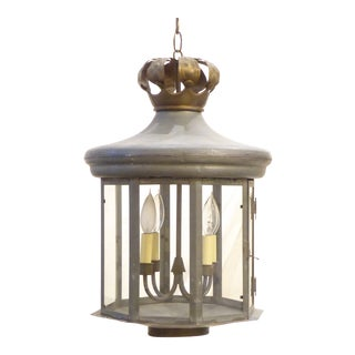 Vintage Tin Country Gray Tole Lantern For Sale