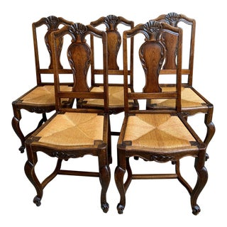 1920s Antique French Carved Oak Dining Kitchen Chairs- Set of 5 For Sale
