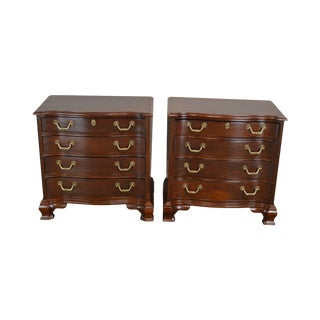 Wellington Hall Chippendale Style Pair Mahogany Chests Nightstands For Sale