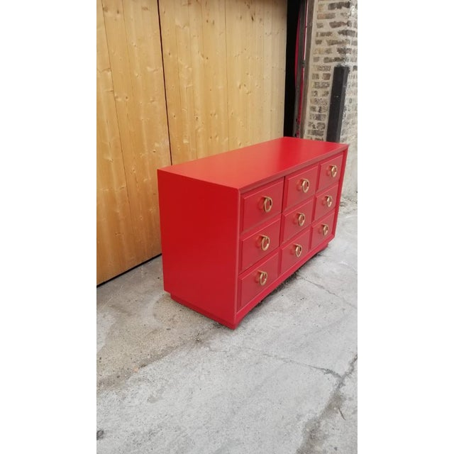Widdicomb Mid Century Modern t.h. Robsjohn-Gibbings for Widdicomb Credenza Dresser Freshly Painted in Red Paint For Sale - Image 4 of 8