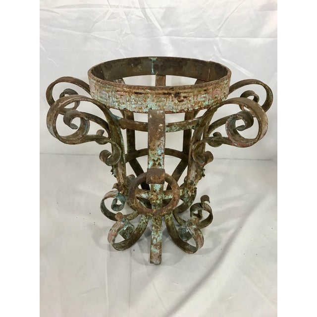 Wrought Iron Fretwork Planters a Pair For Sale - Image 11 of 13