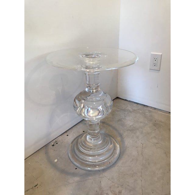 Modern acrylic side table, turned in Transitional style.