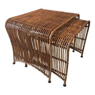 Mid-Century Modern Rattan Nesting Tables - a Pair