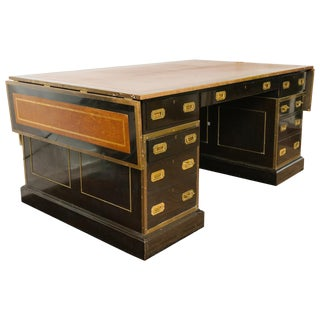 1920s English Leather Top Partners Desk Once Owned by Mariah Carrey For Sale