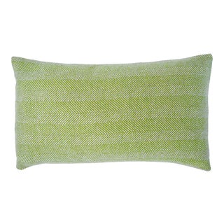 FirmaMenta Italian Acid Green Herringbone Sustainable Wool Lumbar Pillow For Sale
