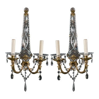 French Gilt Bronze Sconces with Etched Mirror Backplate - a Pair For Sale