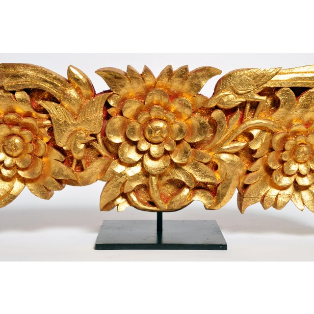 Gold Teak Wood Carving With Gold Paint on Metal Stand For Sale - Image 8 of 13