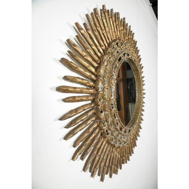 20th Century Spanish Giltwood Sunburst Mirror For Sale - Image 4 of 6