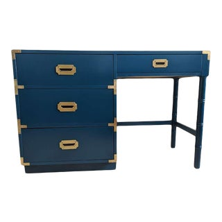 1970s Campaign Dixie Blue Gloss Desk For Sale