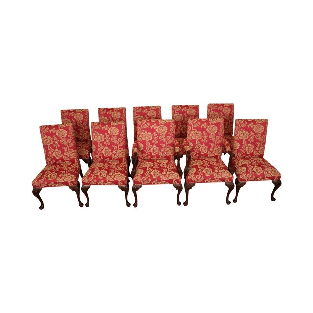 Georgian Style Custom Quality Carved Mahogany & Upholstered Set 10 Dining Chairs For Sale