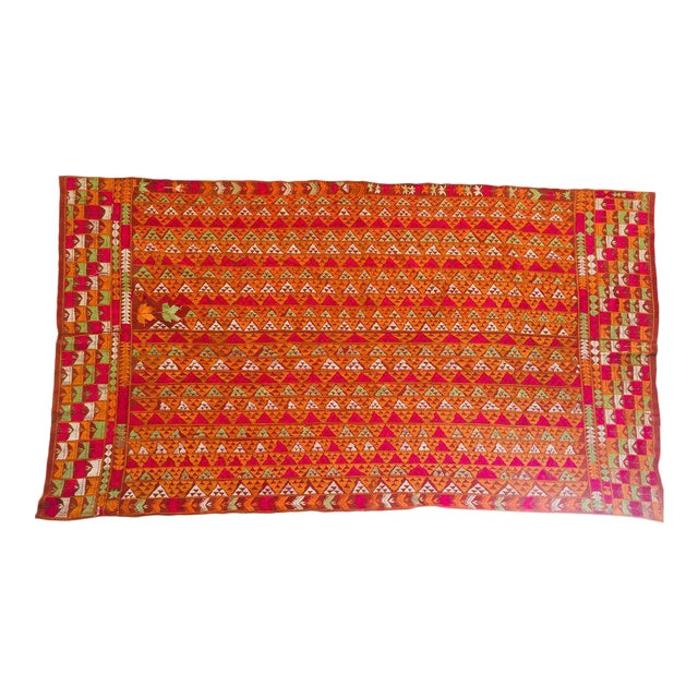 Phulkari Wedding Shawl, Silk Embroidery on Cotton, Punjab India 20th Century For Sale
