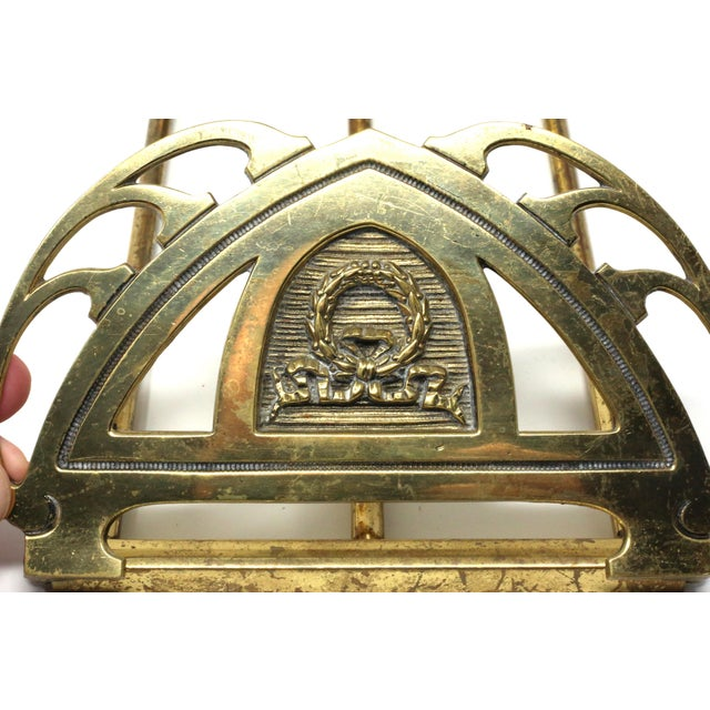 Vintage Folding Brass Wreath and Ribbon Book Holder For Sale In Tampa - Image 6 of 10