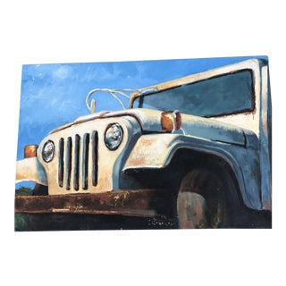 Vintage Original Jeep Painting by Alissa Ayers 1996 For Sale