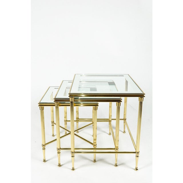 Brass Brass & Glass Nesting Tables - Set of 3 For Sale - Image 7 of 8