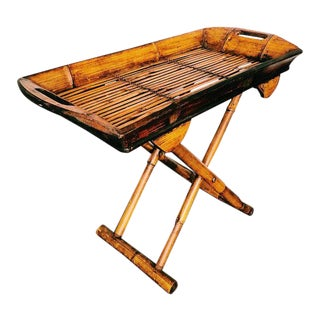 Vintage Bohemian Folding Bamboo Tray Table