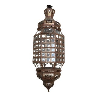Handcrafted Moroccan Lantern With Clear Glass and Moorish Metal Filigree For Sale
